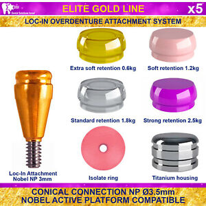 5x Dsi Dental Implant Conical Loc in Np Nobel Active Overdenture Attachment 3mm