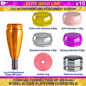 10x Dsi Dental Implant Conical Loc in Np Nobel Active Overdenture Attachment 4mm
