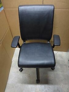 Steelcase Think Black Leather Office Chair Leather