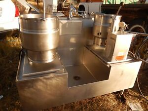 Dual Jacketed Steam Kettles by Groen W Sink drain Work Station Beautiful