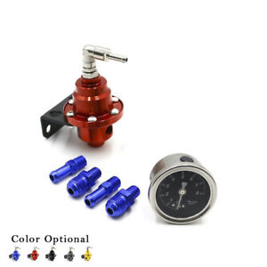 Aluminum Universal Adjustable Fuel Pressure Regulator Gauge Fitting Kit Red