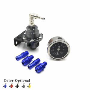 Universal Aluminum Adjustable Fuel Pressure Regulator Gauge Fitting End Kit