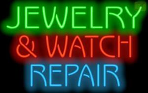 Jewelry Watch Repair Neon Sign Pawn Shop Jewelry Gold Silver 32x20 Jantec Usa