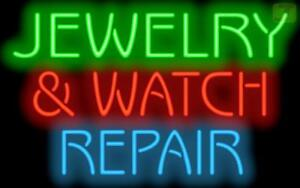Jewelry Watch Repair Neon Sign Jewelry Store Gold Silver Pawn 37x22 Jantec
