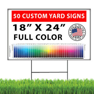 50 18x24 Full Color Double Sided Custom Yard Signs Stakes