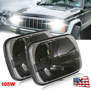 2pc Cree 5x7 7x6 Square Led Headlights For Jeep Cherokee Xj Yj Ford Chevrolet