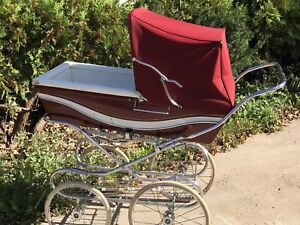 Vintage Italian Perego Baby Stroller Carriage Maroon Made In Italy Bassinet