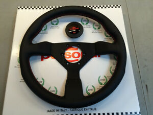 New Nardi Personal Grinta 330 Black Leather Red Stitch Steering Wheel 6430 33 20