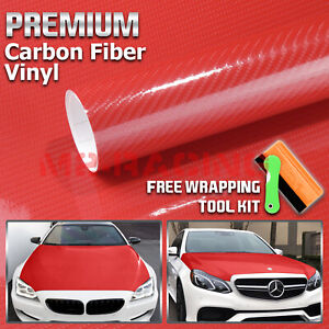 12 X60 7d High Gloss Red Carbon Fiber Vinyl Wrap Bubble Free Air Release