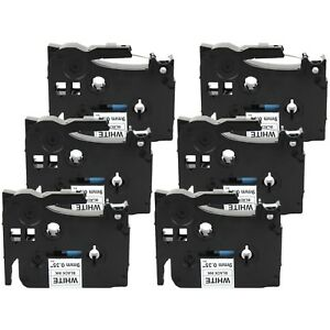 6 pack Compatible Tz 221 Tze 221 Black On White Label Tape For Brother P touch