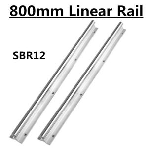 Linear Rail Slide Guide Sbr12 800 Shaft Rod For Cnc Fully Supported 2pcs