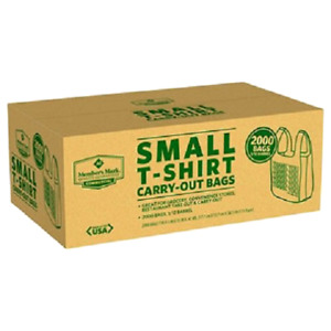 Grocery Convenience Store Small T shirt Bag 2 000ct Carry out Bag Carryout