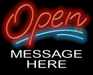 Open Neon Sign With Custom Message Retail Business Restaurant Store Jantec