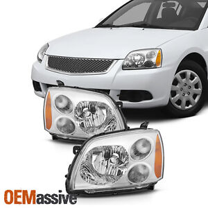Fit 2004 2012 Mitsubishi Galant Chrome Halogen Type Headlights Lamps Replacement