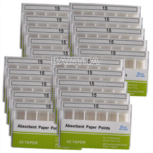 20 Packs Dental Absorbent Paper Points 15 Taper 0 02 For Endodontics Use