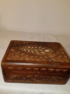 Vintage Carved Wooden Box Inlay On Top Good Conditon