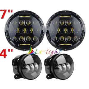 75w 7 Led Headlights 4 Led Fog Light Passing Lamp Kit For Jeep Wrangler Jk