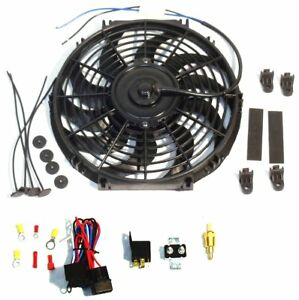 16 Electric Curved Blade Reversible Cooling Fan 12v 3000cfm Thermostat Kit To