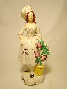 Staffordshire Figurine Of Lady With Flower Basket Figure Statue 9 H Mid 19th C