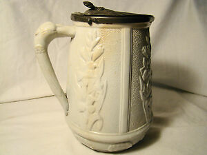 Staffordshire Stippled Stoneware Hinged Pewter Lid Jug 7 H C 19th C