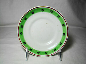 Spatterware Stick Spatter Green Red Bands Black Rosette Saucer Early 19th 6