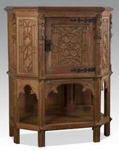 19th Century Gothic Revival Carved Oak Cabinet 1800s