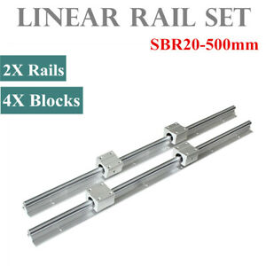 2set Sbr20 500mm 20mm Linear Slide Rail Shaft 4pcs Sbr20uu Bearing Block Cnc