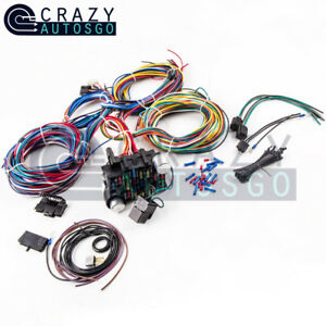 Universal 21 Circuit Wiring Kit Harness Street Hot Rod Lighter 17 Fuses