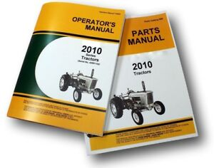 Operators Manual For John Deere 2010 Tractor Owners Parts Catalog Gas Diesel