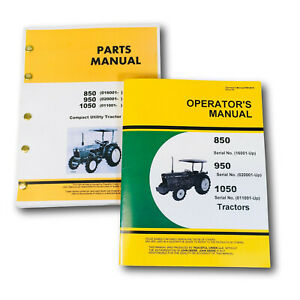Operators Parts Manual Set For John Deere 850 950 1050 Tractor Owners Catalog