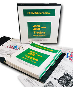 Service Manual For John Deere 4020 4000 Tractor Technical Repair Shop Binder