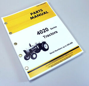 Parts Manual For John Deere 4020 4000 Tractor Catalog Book Sn Up To 200 999