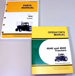 Operator Parts Manuals Set For John Deere 4640 Tractor Owner Catalog Book