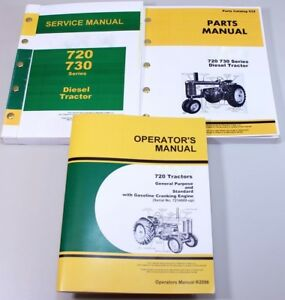 Service Manual Set For John Deere 720 Tractor Parts Catalog Owners Operators