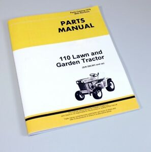 Parts Manual For John Deere 110 Lawn Garden Tractor Mower Catalog Sn 250001