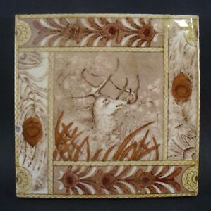 Vintage Edge Malkin Co 6 Ceramic Art Tile Brown With Stag Deer Motif