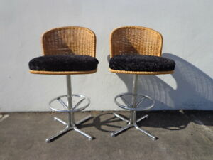 2 Bar Stools Swivel Wicker Chrome Bohemian Boho Chic Pair Dining Chair Vintage