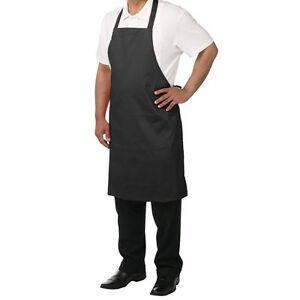 120 Commercial Premium Bib Aprons W Pocket black Restaurant Quality poly Spun