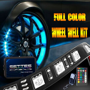 All color Wheel Well Led Light Kit 4pc 24 Inch Custom Accent Neon Strip Rim Tire