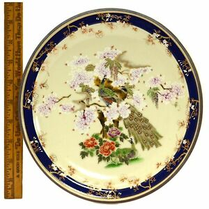 Signed Cloisonne Enamel Plate 9 3 8 Round Peacock In Dogwood Tree Some Crazing