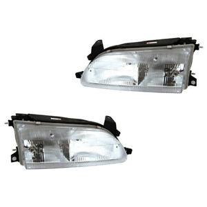 Fits 1993 1997 Toyota Corolla Driver Passenger Headlight Lamp Assembly 1 Pair