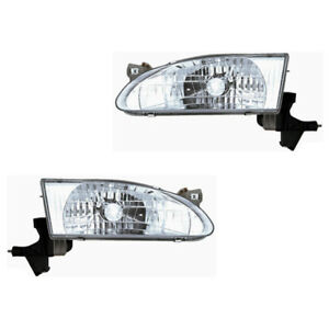 Fits 1998 2000 Toyota Corolla Driver Passenger Headlight Lamp Assembly 1 Pair