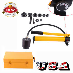 10 Ton 6 Die Hydraulic Knockout Punch Driver Kit Hole Hand Tool Conduit 22 60mm