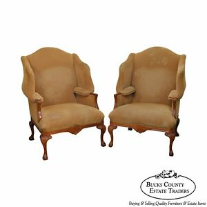 Pearson Large Pair Of Custom Upholstered Claw Foot Wing Chairs