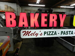 Commercial Store Front Illuminated Bakery Pizza Sign 10ft Long 2 Tier Custom