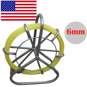 Durable Fish Tape Fiberglass Wire Cable Rod Duct Rodder Fishtape Puller 6mm Usa