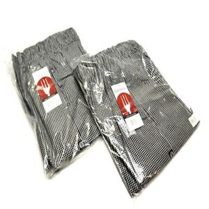2 New Chef Works Nbcp 000 xl Checkered Baggy Designer Chef Pants xl