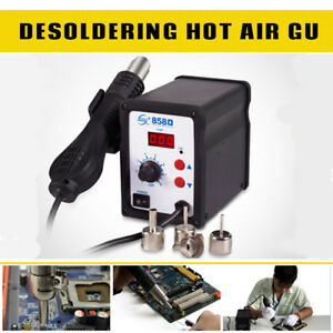 858d Hot Air Gun Kit Rework Station Smd Iron Soldering Solder Holder 110v 220v