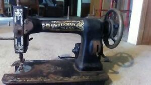 Antique White Family Rotary Lock Stitch Treadle Sewing Machine Head Wmetal Gears