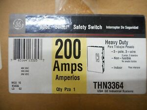 Ge Thn3364 200 Amp 240v 3 Phase Non Fusible Indoor Disconnect Safety Switch
